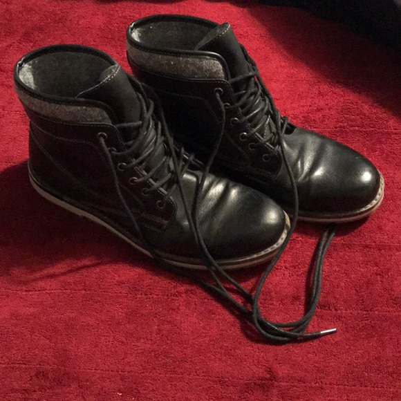 Mens Black Leather Laceup Boots